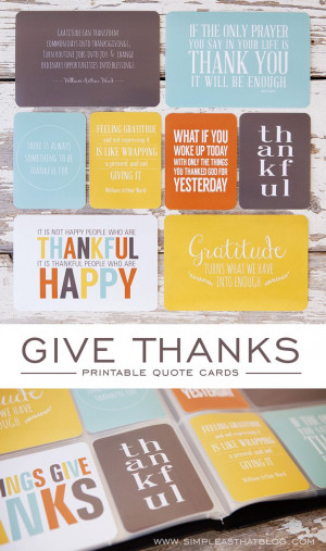 Give Thanks Printable Quotes Collection - simple as that