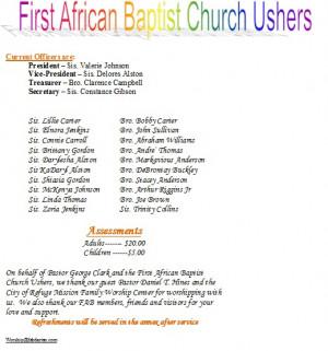 Church Usher Day