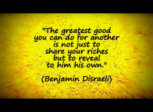 ... share your riches but to reveal to him his own.