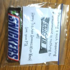 Teacher Appreciation Week! Would be so cute with a different candy bar ...