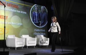 Gabrielle Giffords Gabrielle Giffords walks onstage at EMILY 39 s List