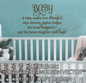 Details about BABY love stronger happier Quote Vinyl Wall Decal ...