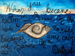 Abstract Painting featuring Rare Sacred Conch Shell & Buddha Quote ...