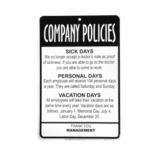 Details about Management Employees Company Policies Sign Funny Work ...