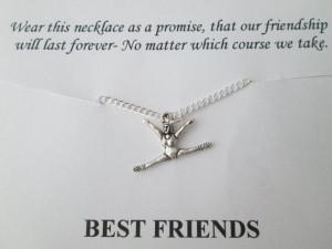 Gymnastics, Best Friend Necklace- Friendship Quote Card
