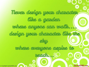 Never design your character like a garden...