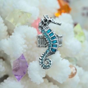 Crystal Seahorse Ring Aquamarine
