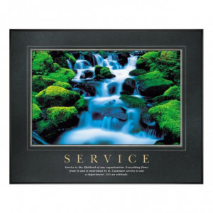 Service waterfall motivational poster attitude quote