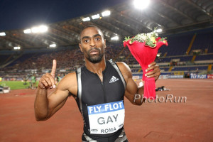 Tyson Gay after he tied his 100m PR of 9.77. Photo: Victah Sailer
