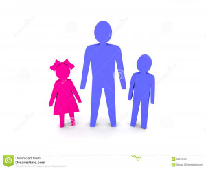 Royalty Free Stock Image: Man with children. Single-parent family.
