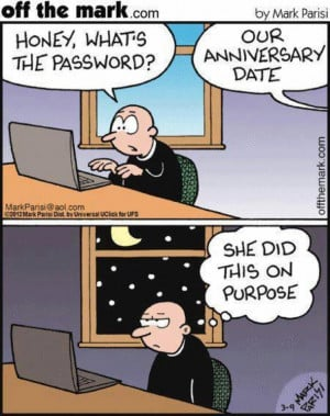 ... recall of anniversary date…. Try using the date as password… .LOL