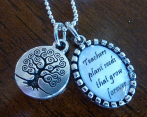 ... plant the seeds - Pendants for teacher with tree of knowledge charm