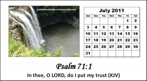 Christian Calendar 2011 July with Bible verses or Encouraging quotes