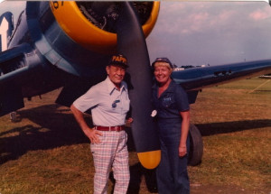 """Greg """"Pappy"""" Boyington and Lady Skywriter with the Corsair at ..."""