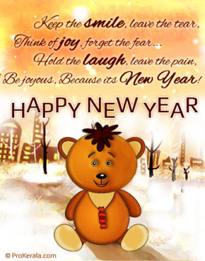 New Year Teddy | Cute New Year Greeting Card with Message