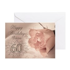 60th Birthday for sister, pink rose Greeting Card for