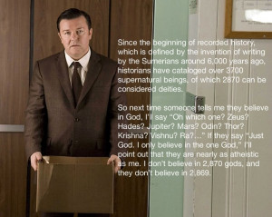 One Of Ricky Gervais` Best Atheist Quotes [Pic]