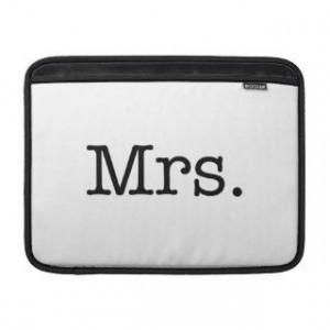 Black and White Mrs. Wedding Anniversary Quote MacBook Air Sleeves