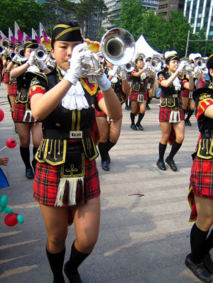 Images of Scotland Girls in mini kilts Korean Brass Marching Band