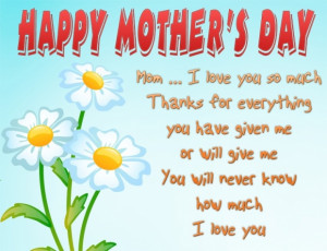 Mom I love you so much! Thanks for everything you have given me or ...