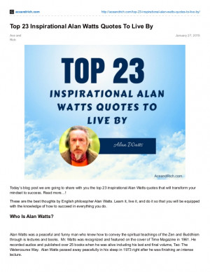 Top 23 Inspirational Alan Watts Quotes To Live By