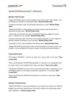 Speedo FASTSKIN3 Racing System Athlete Quotes