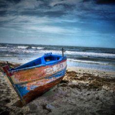Boat by the sea in Tunisia