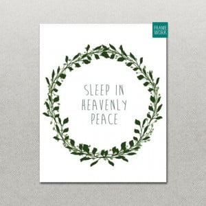 INSTANT DOWNLOAD Sleep in Heavenly Peace Floral Printable Quote Art ...