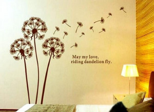 Mix Wholesale Order May My Love Riding Dandelion Fly Wall Sticker Wall ...