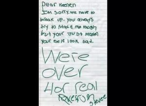 Top 10 Funny Break-Up Letters (10 Pics)