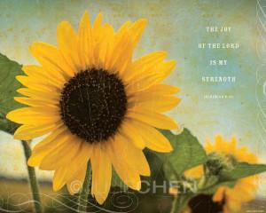 ... Christian Art - Sunflower Art - The Joy of the Lord - Nehemiah 8 Art