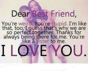 ... besties, bff, forever, girls, i love you, love, perfect, pink, quote