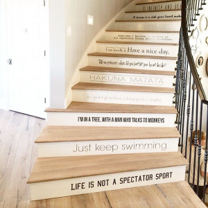 Sweeping staircase with Disney quotes. One of my favorite ideas from ...