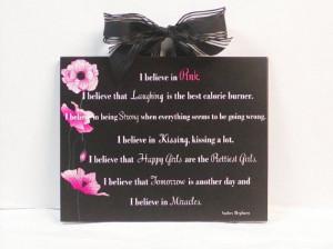 Audrey Hepburn Quote I Believe In Pink by NikkisSecretCloset, $14.95