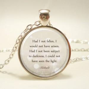 Inspirational Quote Necklace Pendant, Midrash Hebrew Motivational ...