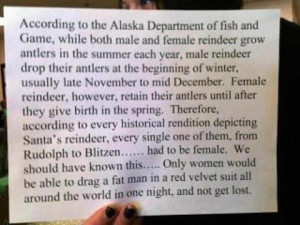 Reindeer must be female funny quote