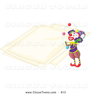 Circus Clipart of a Clown Juggling by Papers
