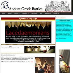 to Greece & the Greek Islands - Greeka.com. Famous Spartan quotes ...