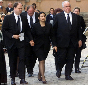 Heartache: The Kohl family at a memorial service for Hannelore after ...
