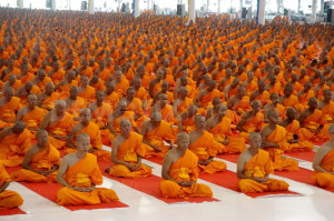 Mass meditation: which monks are really 'doing it?'