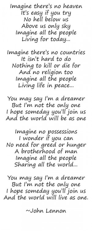 Lyrics To John Lennon S Imagine : famous quotes john lennon lyrical quotesgram ~ Hamham.info Haus und Dekorationen