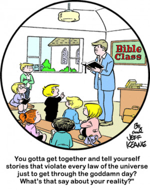points out the struggle of religion to adapt their message to a ...