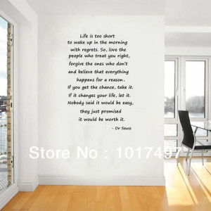 size dr seuss quotes Life is too short... Inspirational Wall Quotes ...