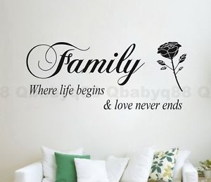 Family-rose-flower-Wall-quote-decals-Vinyl-sticker-decor-home-art-room ...