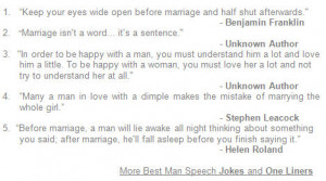 Having a collection of best man speech jokes, quotes and onle-liners ...