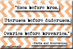 ... and Recreation Leslie Knope Hoes Before Bros by chicalookate, $4.00