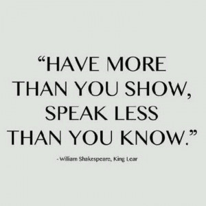 Have more than you show...