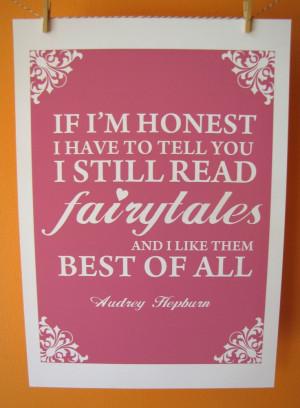 Fairytale Audrey Hepburn Quote A4 Size Art Poster Print. $15.00, via ...