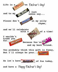 quotes cute sayings using candy bars for parents more candybar candy ...