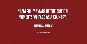 """am fully aware of the critical moments we face as a country."""""""